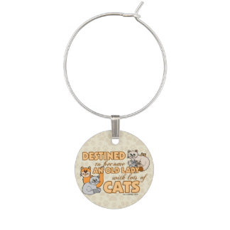 Future Crazy Cat Lady Funny Saying Design Wine Glass Charm