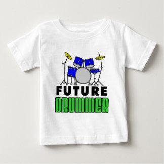 Future Drummer Blue Drum Set Cartoon Baby T-Shirt