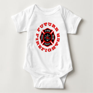 Future Firefighter Maltese Cross Fire Dept Red Baby Bodysuit