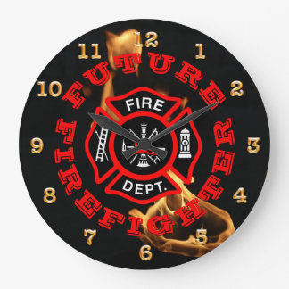 Future Firefighter Maltese Flames Kids Large Clock