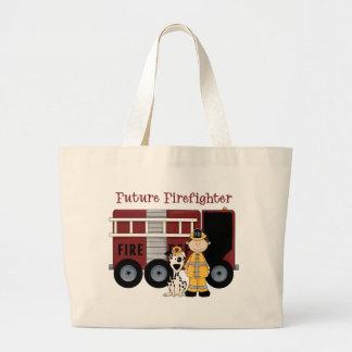 Future Fireman - Boy Dark Hair Large Tote Bag