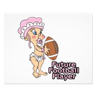 future football player baby girl 11.5 cm x 14 cm flyer