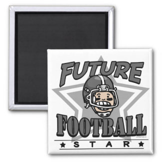 Future Football Star Black Helmet Square Magnet