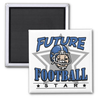 Future Football Star Blue Helmet Square Magnet