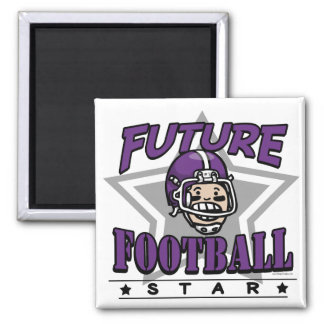 Future Football Star Purple Helmet Square Magnet