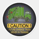 Future Garbage Truck Green Driver Kids Sticker