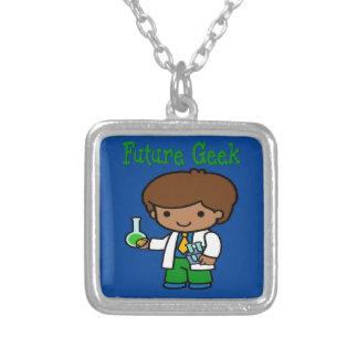Future Geek  Dark Skin Silver Plated Necklace