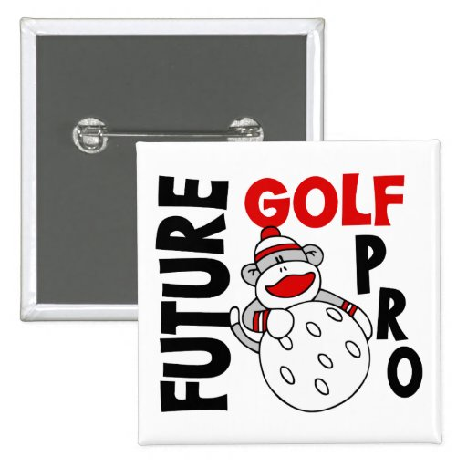 Future Golf Pro Sock Monkey Pinback Buttons