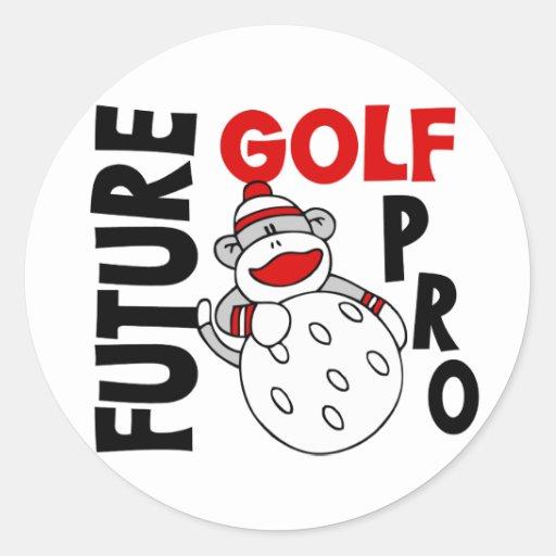 Future Golf Pro Sock Monkey Round Stickers