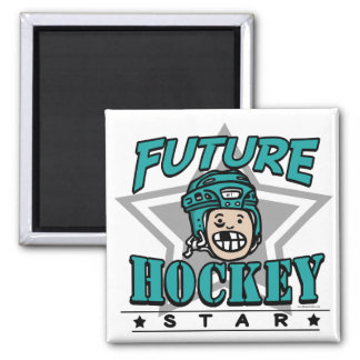 Future Hockey Star Teal Helmet Square Magnet