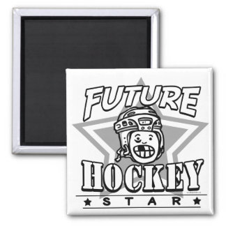 Future Hockey Star White Helmet Square Magnet