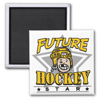 Future Hockey Star Yellow Helmet Square Magnet