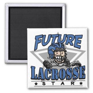 Future Lacrosse Star Blue Helmet Square Magnet