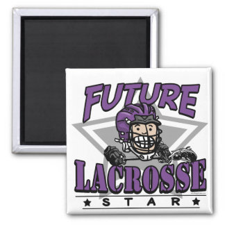 Future Lacrosse Star Purple Helmet Square Magnet
