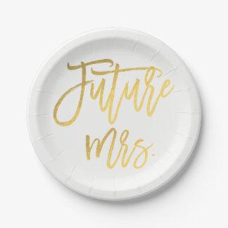 Future Mrs. Faux Gold Foil Modern Bridal Shower Paper Plate