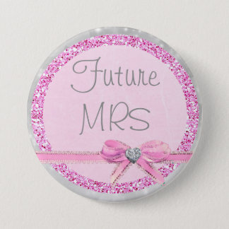 Future Mrs Pink & Silver Bow Faux Glitter Button
