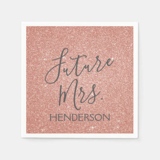 Future Mrs. Rose Gold Blush Pink Sparkle Glitter Paper Serviettes