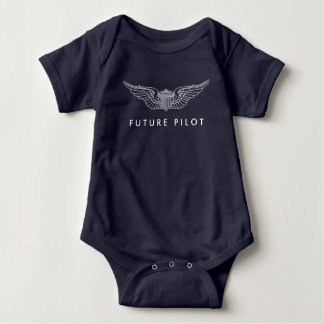 Future Pilot Baby Wings in White Baby Bodysuit