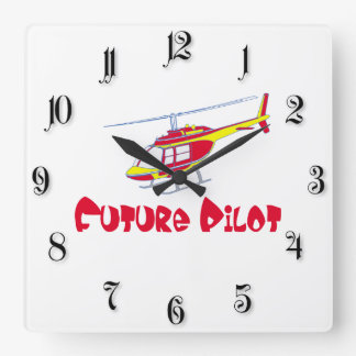 Future pilot square wall clock