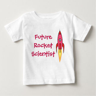 Future Rocket Scientist Pink Rocketship Funny Baby T-Shirt