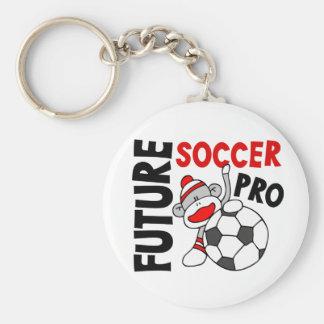 Future Soccer Pro Sock Monkey Basic Round Button Key Ring
