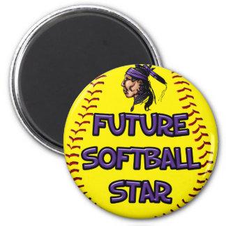 Future Softball Star 6 Cm Round Magnet