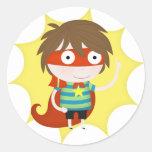 Future superhero round stickers