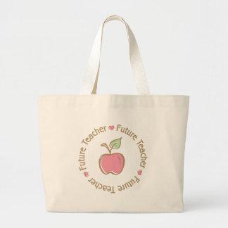 Future Teacher Apple Canvas Bags