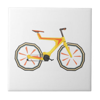 Futurictic Design Yellow Bicycle. Cool Colorful Ceramic Tile