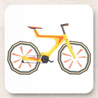 Futurictic Design Yellow Bicycle. Cool Colorful Coaster