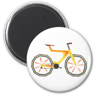 Futurictic Design Yellow Bicycle. Cool Colorful Magnet