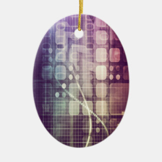 Futuristic Abstract Concept on Technology Ceramic Oval Decoration