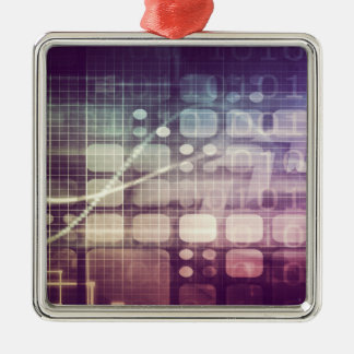 Futuristic Abstract Concept on Technology Silver-Colored Square Decoration