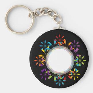 Futuristic artwork basic round button key ring