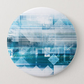 Futuristic Background with Technology Abstract 10 Cm Round Badge