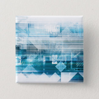 Futuristic Background with Technology Abstract 15 Cm Square Badge