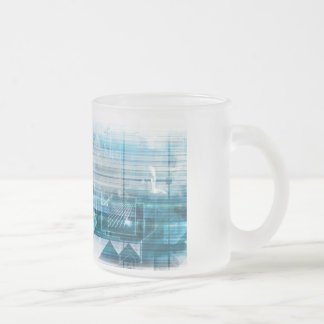 Futuristic Background with Technology Abstract Frosted Glass Coffee Mug