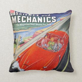futuristic car 50s comic book style pillow cushion