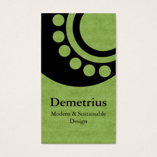 Futuristic Dimensions Business Card, Green Business Card