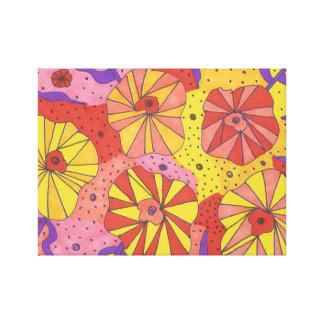 Futuristic Floral Garden Abstract Canvas Art Print