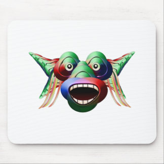 Futuristic Funny Monster Character Face Mouse Pad
