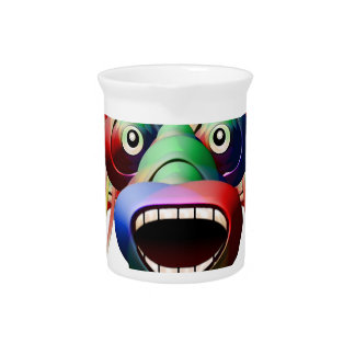 Futuristic Funny Monster Character Face Pitcher