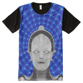 Futuristic Robot / Android - Blue Background All-Over Print T-Shirt