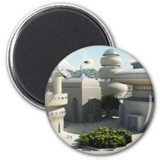 Futuristic Sci-Fi townscape 6 Cm Round Magnet