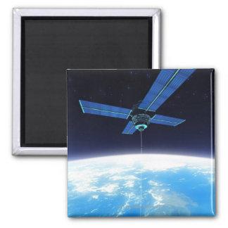 Futuristic Space Station Square Magnet