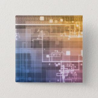 Futuristic Technology as a Next Generation Art 15 Cm Square Badge