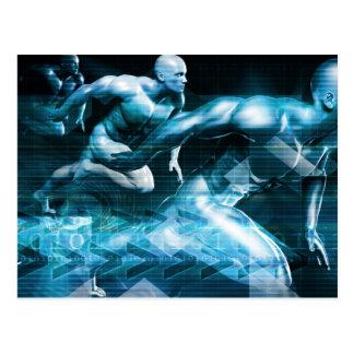 Futuristic Technology Background and Visual Data Postcard