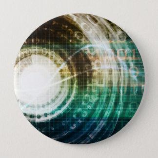 Futuristic Technology Portal with Digital 10 Cm Round Badge