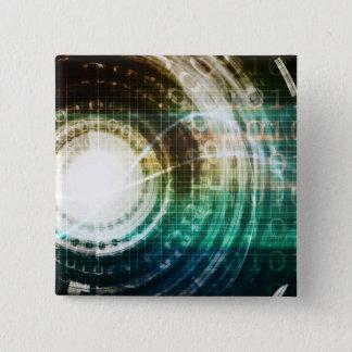 Futuristic Technology Portal with Digital 15 Cm Square Badge