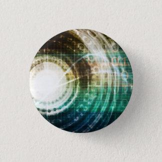 Futuristic Technology Portal with Digital 3 Cm Round Badge